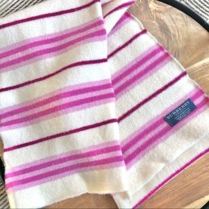 Burberry Lambswool Pink Striped Scarf